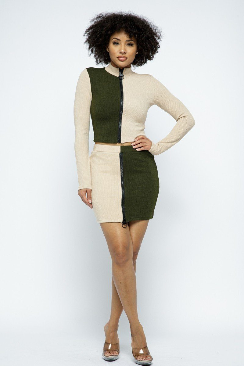 Rib Color Block Mock Neck Long Sleeve High-waist Mini Skirt