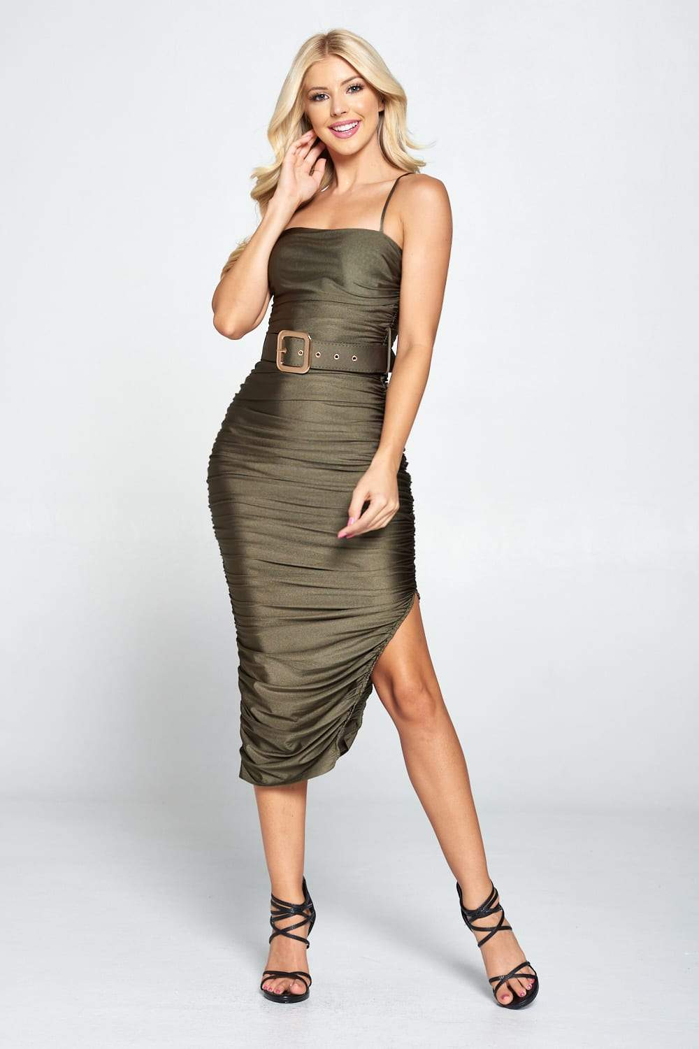 Ruched Belted Midi Dress - Dress