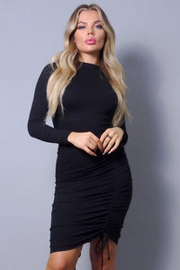 Sexy Long Sleeve Mock Neck Side Or Twist Ruching Dress