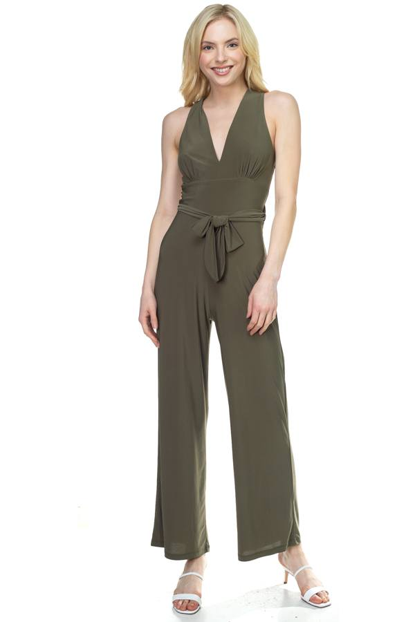 Strapless Belted Jumpsuit - Jumpsuits