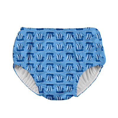 Mix & Match Snap Reusable Absorbent Swimsuit Diaper-Blue Viking Geo