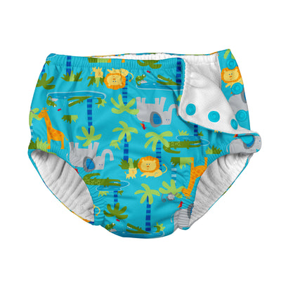 Fun Snap Reusable Absorbent Swimsuit Diaper-Aqua Jungle