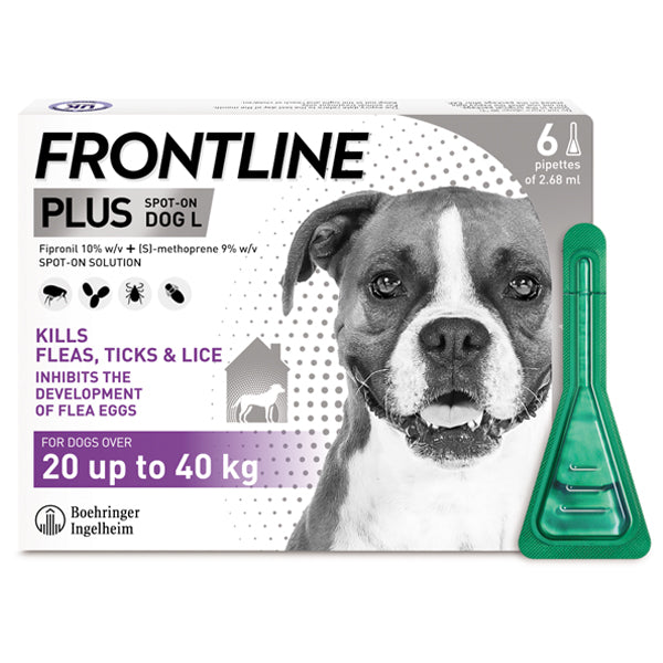 Frontline Plus for large dogs purple at Petremedies