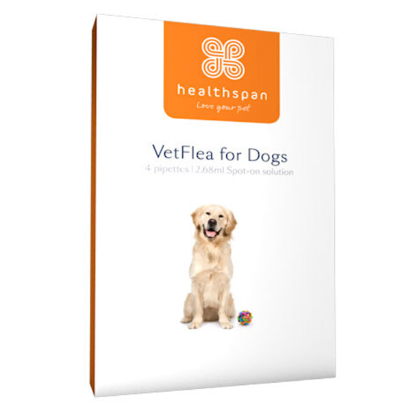 Healthspan VetFlea spot-on solution for large dogs (4 pipettes) at Petremedies