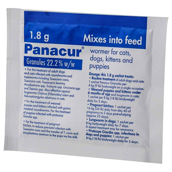 Panacur 22% Granules 1.8g (90pk) for Cat-Dog at Petremedies