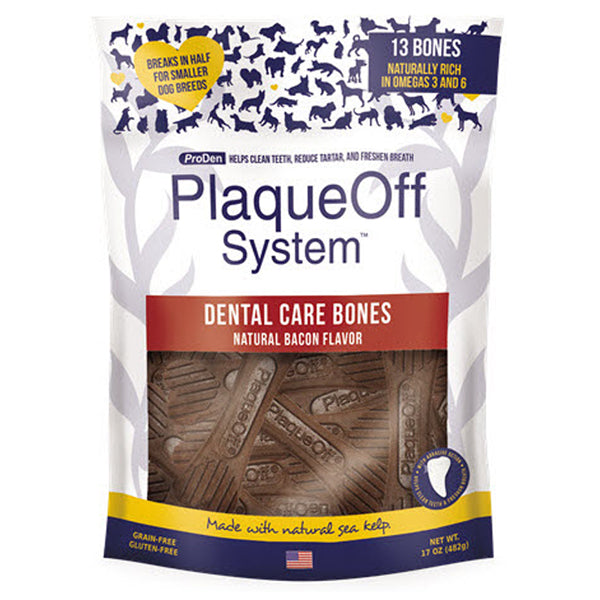 Plaqueoff Dental Bones (Bacon) 482g at Petremedies