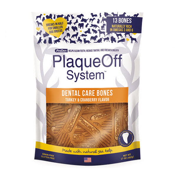 Plaqueoff Dental Bones (Turkey & Cranberry) 482g at Petremedies