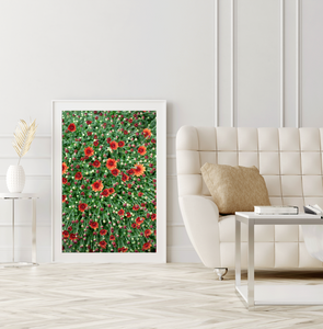 Framed Print Red Orange Flowers