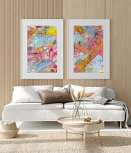 Load image into Gallery viewer, Framed Art Bright Multi Color Texture pink yellow blue orange