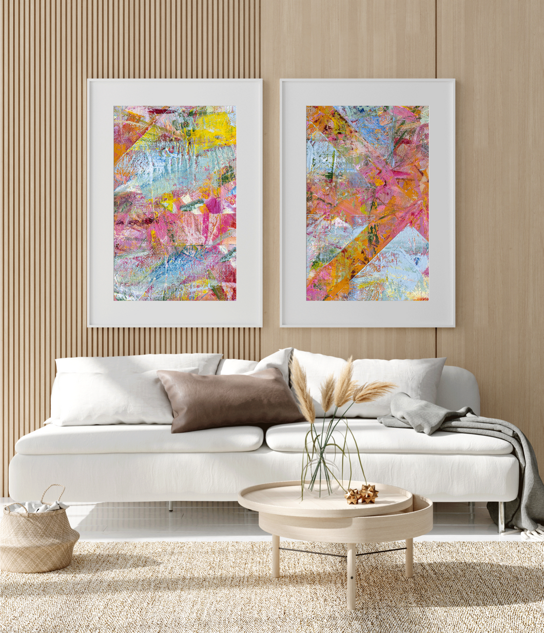 Framed Art Bright Multi Color Texture pink yellow blue orange