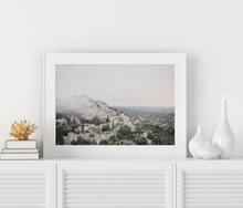 Load image into Gallery viewer, Framed Art Bastides de Gordes France at sunrise fog