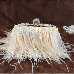 pearl feather clutch