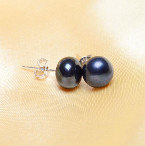 Genuine Black Pearl Stud Earrings