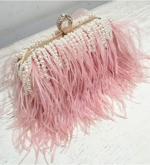 feather and pearl bag