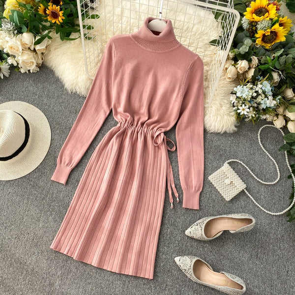 Turtleneck waisted knit dress