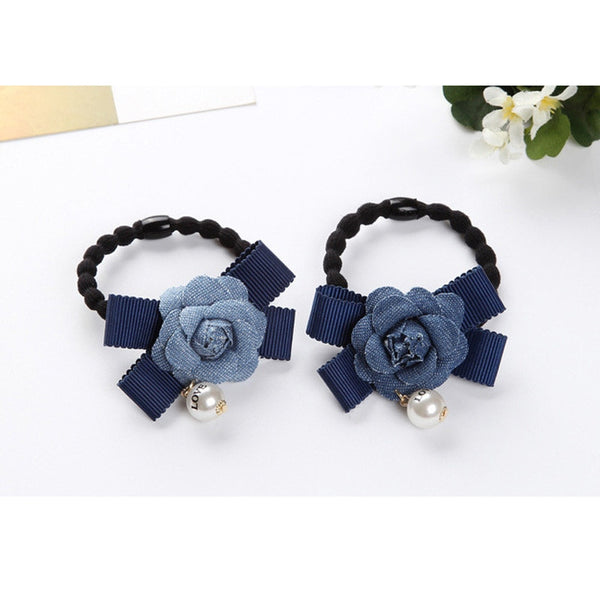 Denim Rose Hair Tie