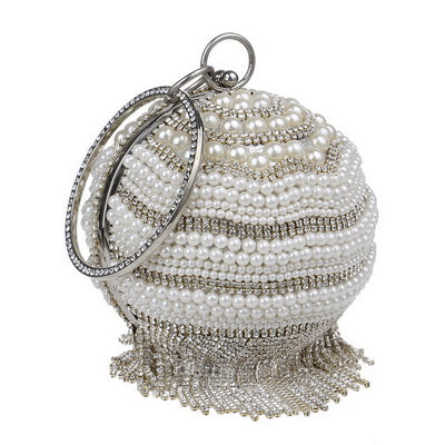 Vintage Pearls and Tassels Clutch