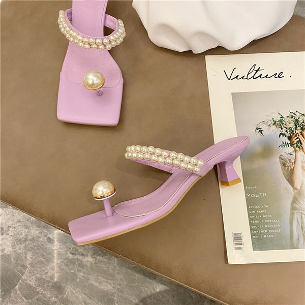 pearl square toe sandals