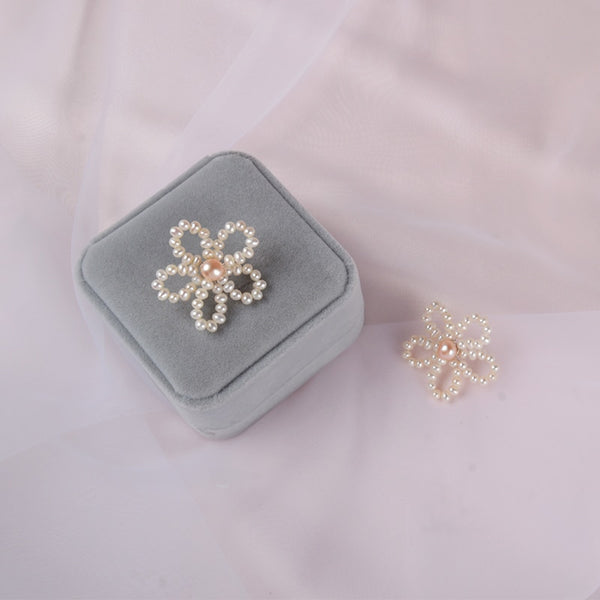 Genuine Freshwater Pearl Flower Earrings