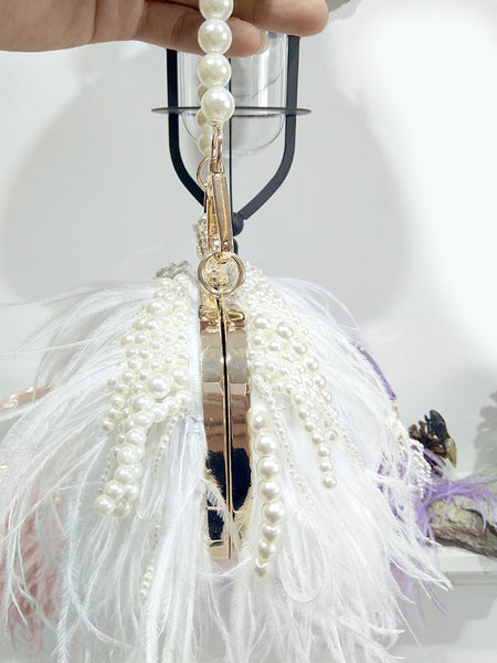 Princesse Alaina Feathers and Pearls Clutch