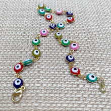Load image into Gallery viewer, Rainbow Evil Eye Anklet