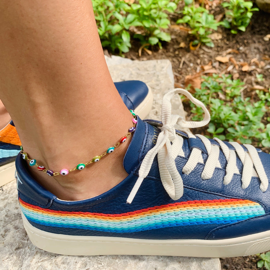 Rainbow Evil Eye Anklet