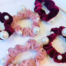 Load image into Gallery viewer, Velvet Pearl Scrunchie