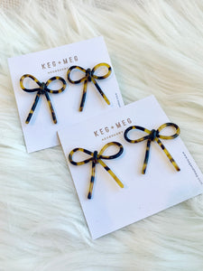 Tortoise Bow Earrings