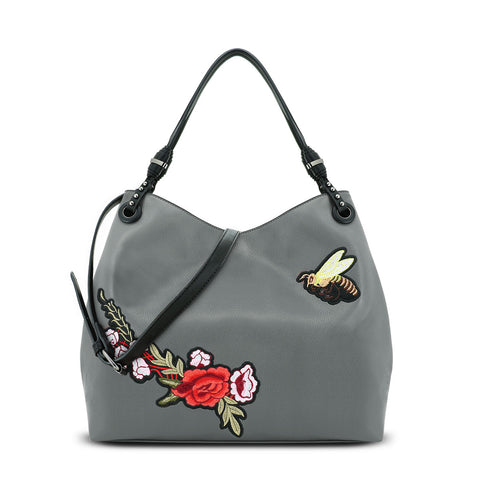 Grey Enchanted Garden Hobo Bag