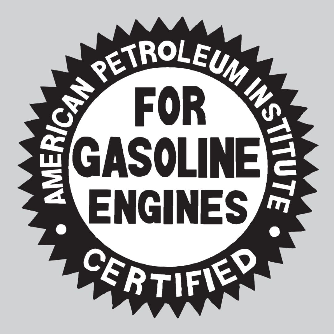 This seal indicates the oil is energy conserving and that it meets the American Petroleum Institute's latest requirements.