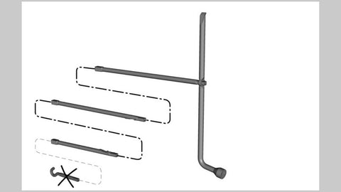 Ford F-150 flat tire procedure: Assemble the jack handle as shown in the illustration.