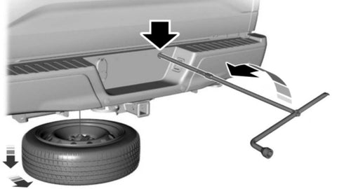 Ford F-150 Flat Tire Procedure: Fully insert the jack handle through the bumper hole and into the guide tube through the access hole in the rear bumper.