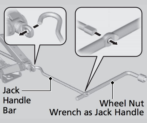 Raise the vehicle, using the jack handle bar and the jack handle, until the tire is off the ground.