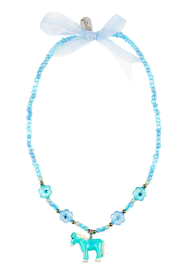 Necklace Ebby, horse blue-mint green