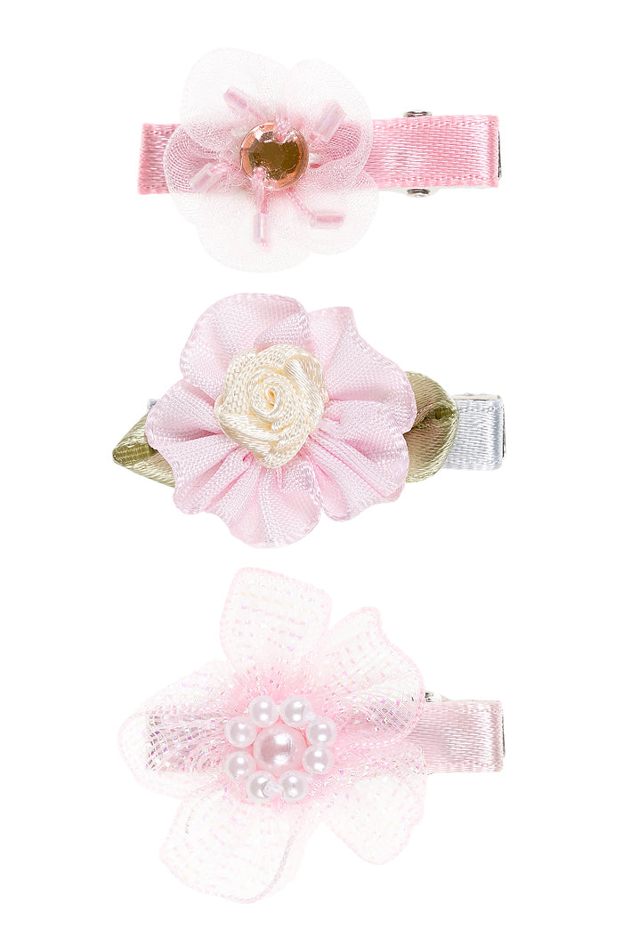 Hairclip Florie, flowers light pink (3 pcs/card)