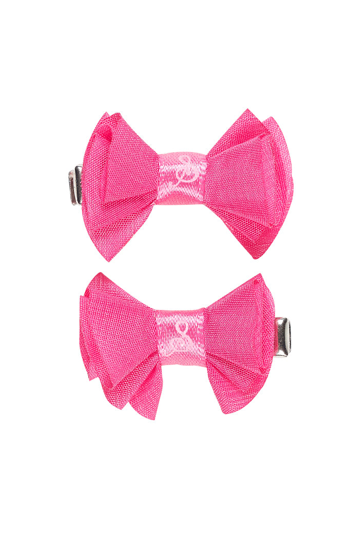 Hair clip Jente, with bow pink (2 pcs/card)