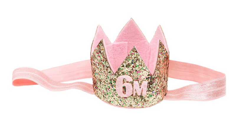 Birthday crown on hairband gold in giftbox, 6 months