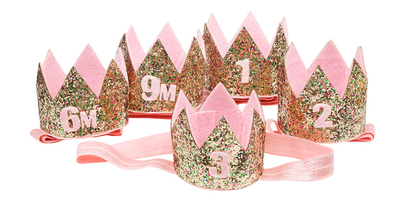 Birthday crown on hairband gold in giftbox, 3 years