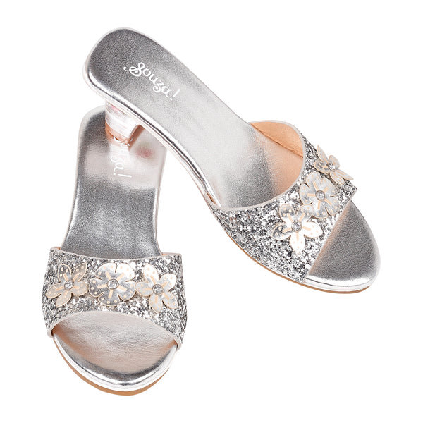 Slipper high heel Mariona, silver metallic