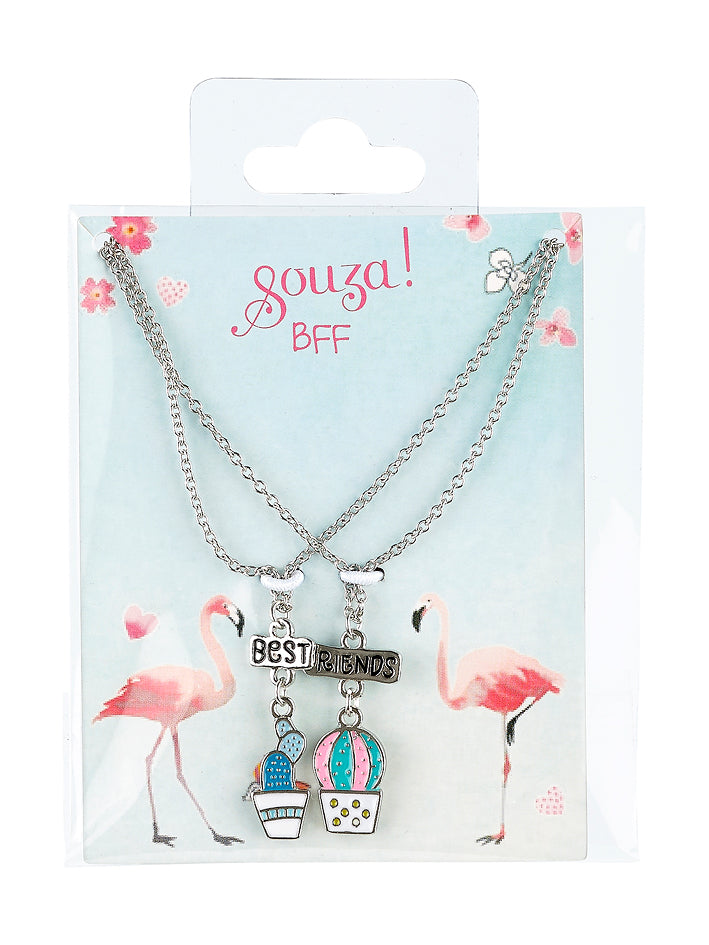 Giftpack BFF plants, 2 necklaces, silver (2 pcs/card)