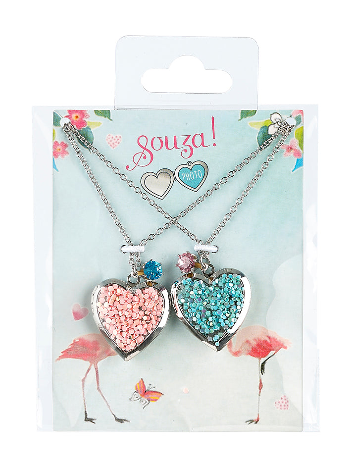 Giftpack BFF 2 hearts, 2 necklaces, silver (2 pcs/card)