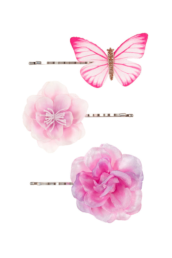 Hair claws Cleo flowers, fuchsia-purple (3 pcs/card)