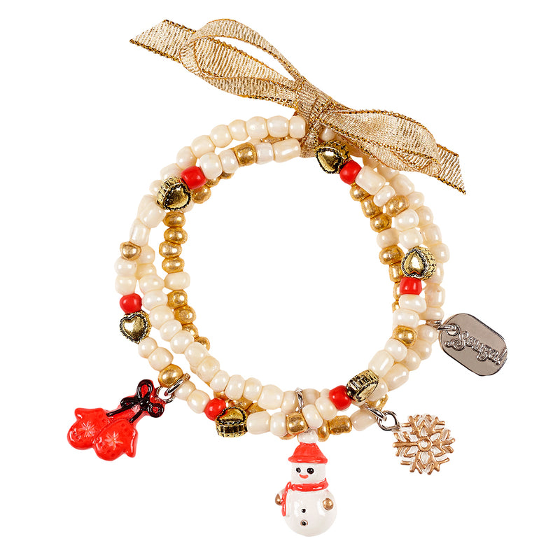 Bracelet Kalina, Winter with charms, off white (3 pcs/card)