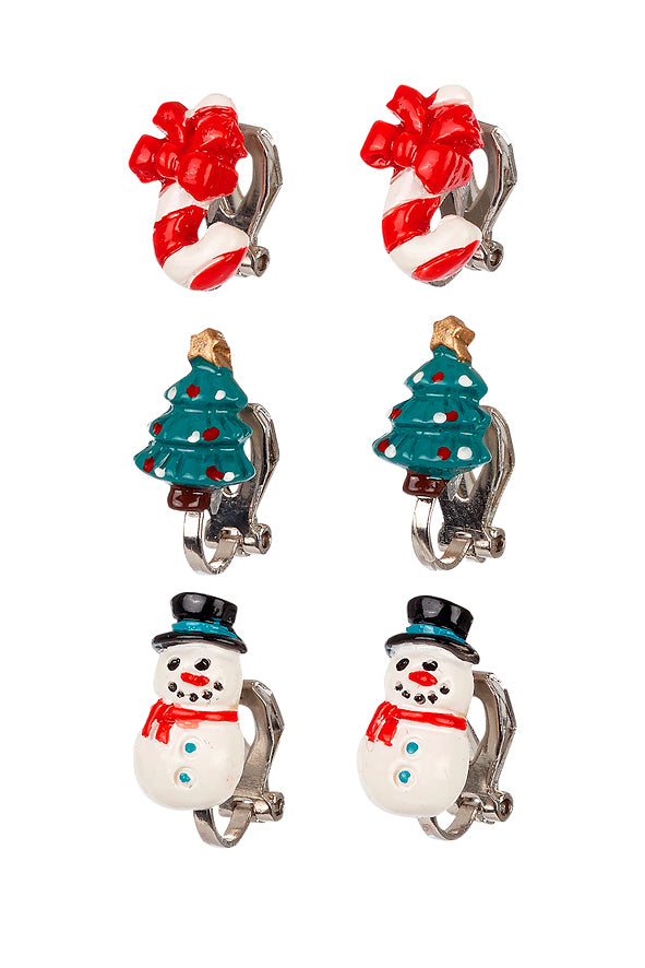 Ear clips Christmas (3 pairs/card)