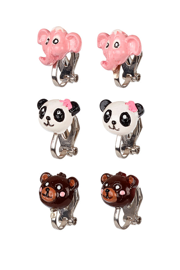 Ear clips Animals (3 pairs/card)