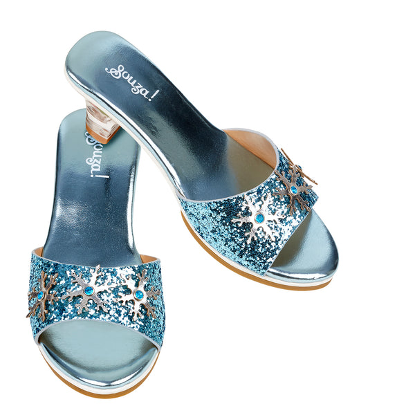 Slipper high heel Ice queen, light blue metallic