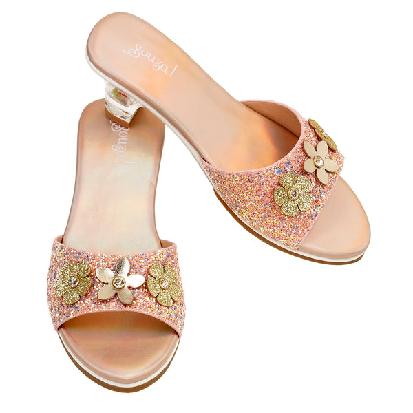Slipper high heel Clarisse, salmon metallic