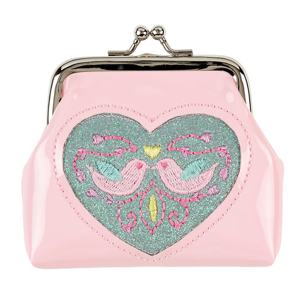 Wallet Ylva birds, light pink