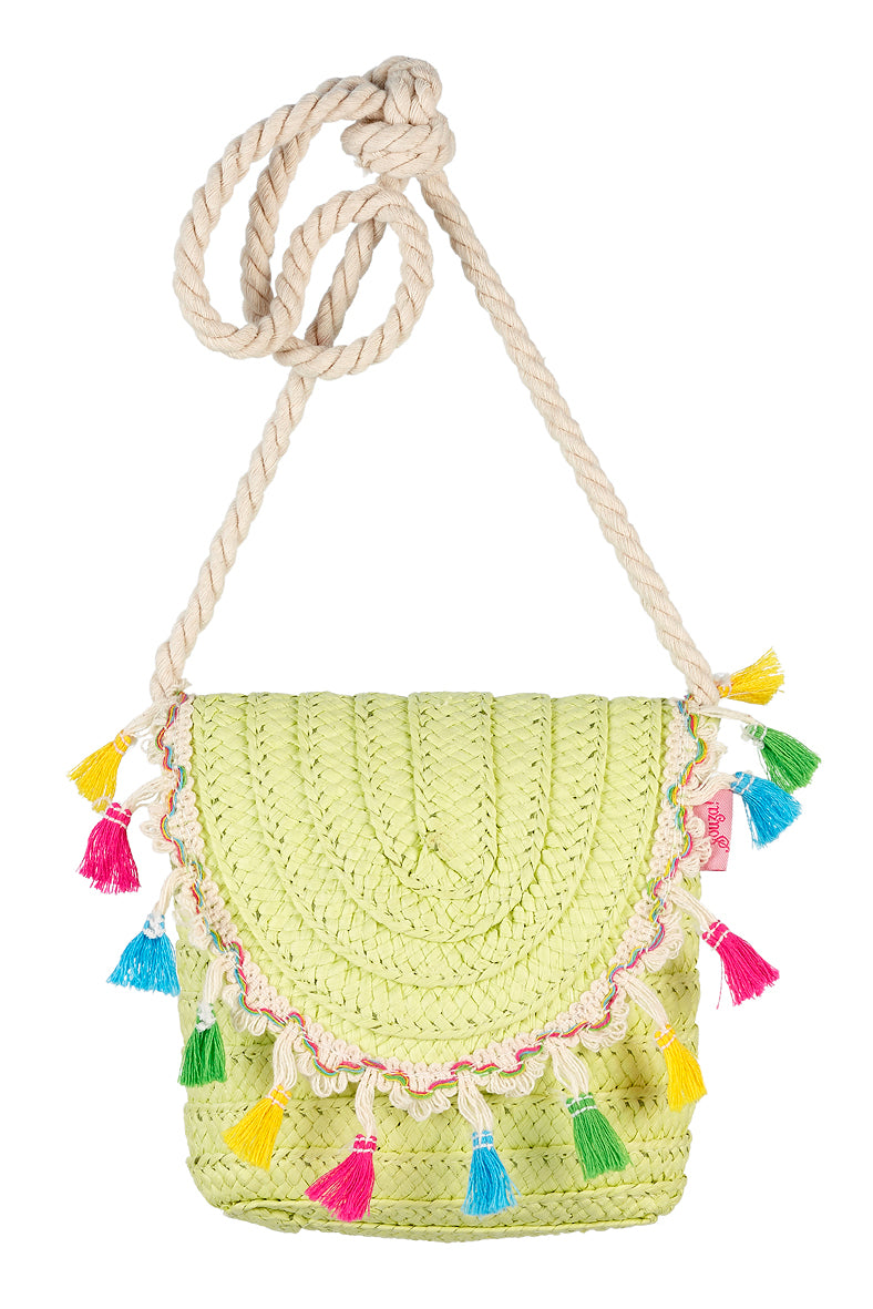 Bag Helene, lime with tassels