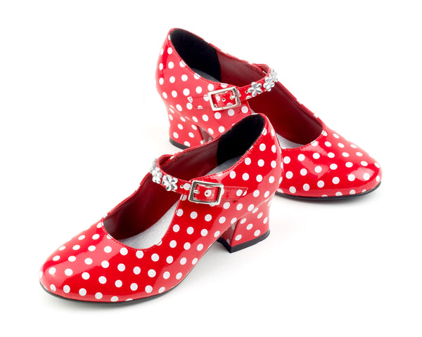Shoes high heel Isabella, red/white dots